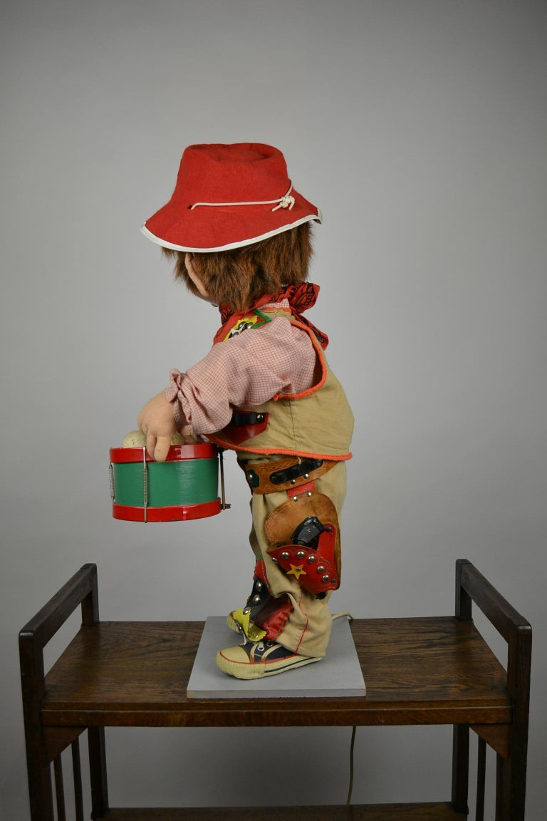 Automaton Texas Cowboy Doll Playing Drum, 1960s For Sale 9
