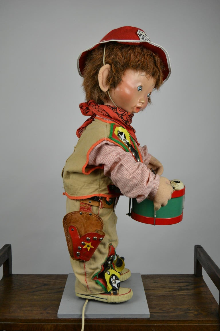 Automaton Texas Cowboy Doll Playing Drum, 1960s For Sale 12