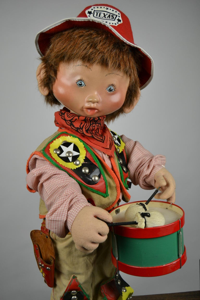Automaton Texas Cowboy Doll Playing Drum, 1960s For Sale 13