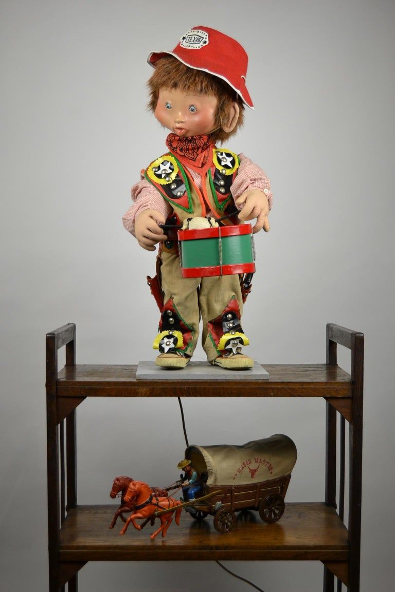 Automaton Texas Cowboy Doll Playing Drum, 1960s For Sale 14