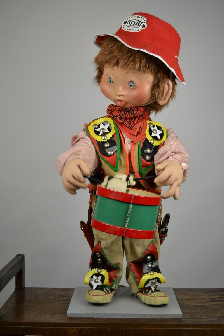 European Automaton Texas Cowboy Doll Playing Drum, 1960s For Sale