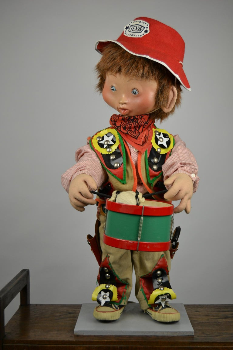 Textile Automaton Texas Cowboy Doll Playing Drum, 1960s For Sale