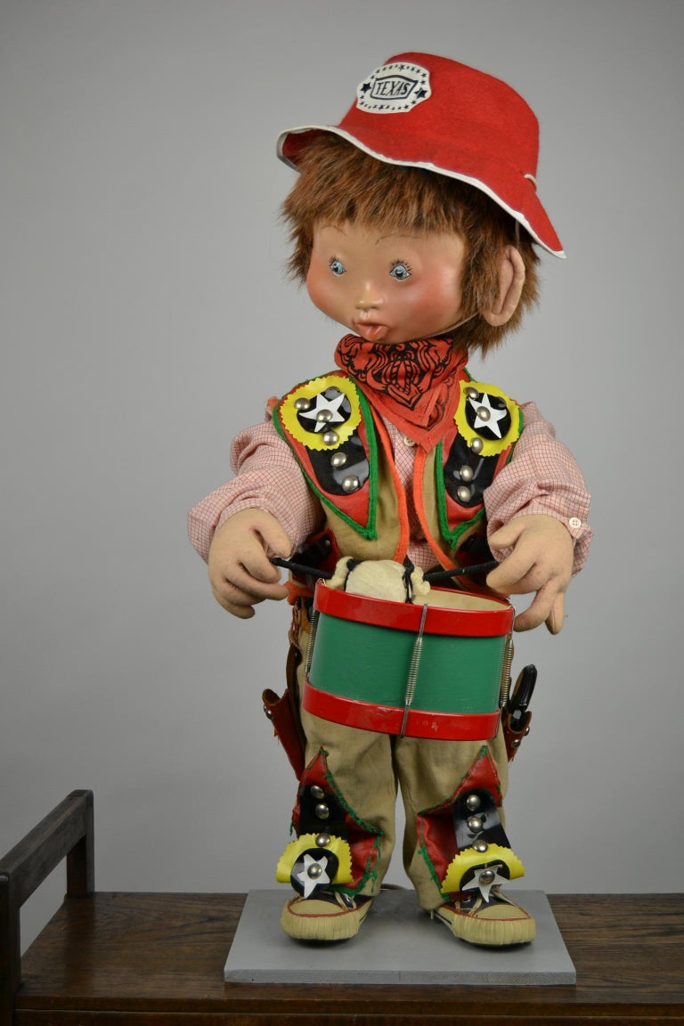 Automaton Texas Cowboy Doll Playing Drum, 1960s For Sale 2