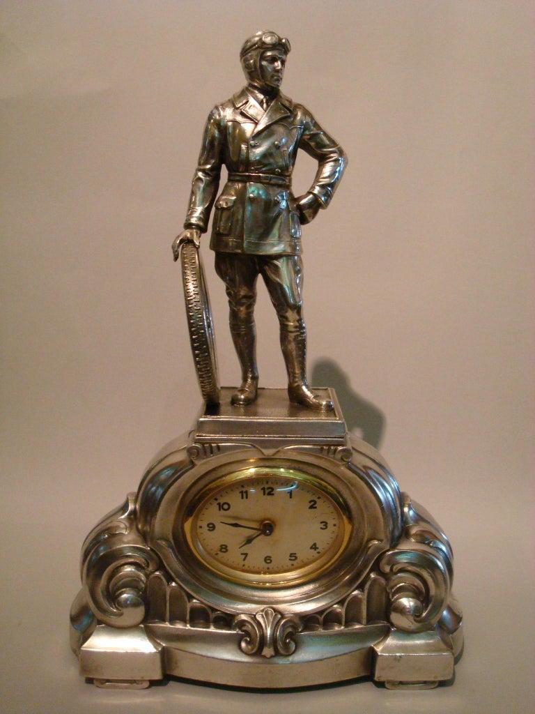 Automobilia - Race Car Driver Sculpture Desk Table Clock ...