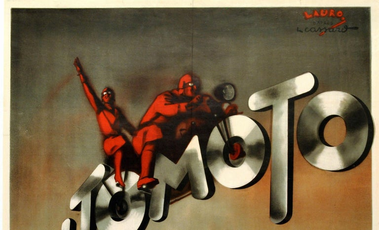 Original vintage poster for Automoto Motos, a French manufacturer of bicycles and motorcycles (1898-1962). Great Art Deco design featuring two motorcyclists on a bike, the wheels formed from the letters O in the text, with the Automoto brand's