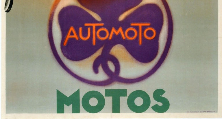 Original Vintage Art Deco Advertising Poster Automoto Motos Bicycles Motorcycles In Good Condition For Sale In London, GB