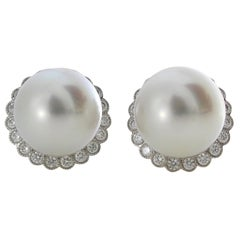 Autore 18 Karat Gold Diamond South Sea Pearl Earrings