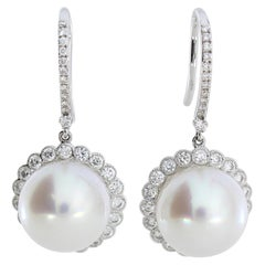 Autore 18 Karat Gold Diamond South Sea Pearl Hook Earrings