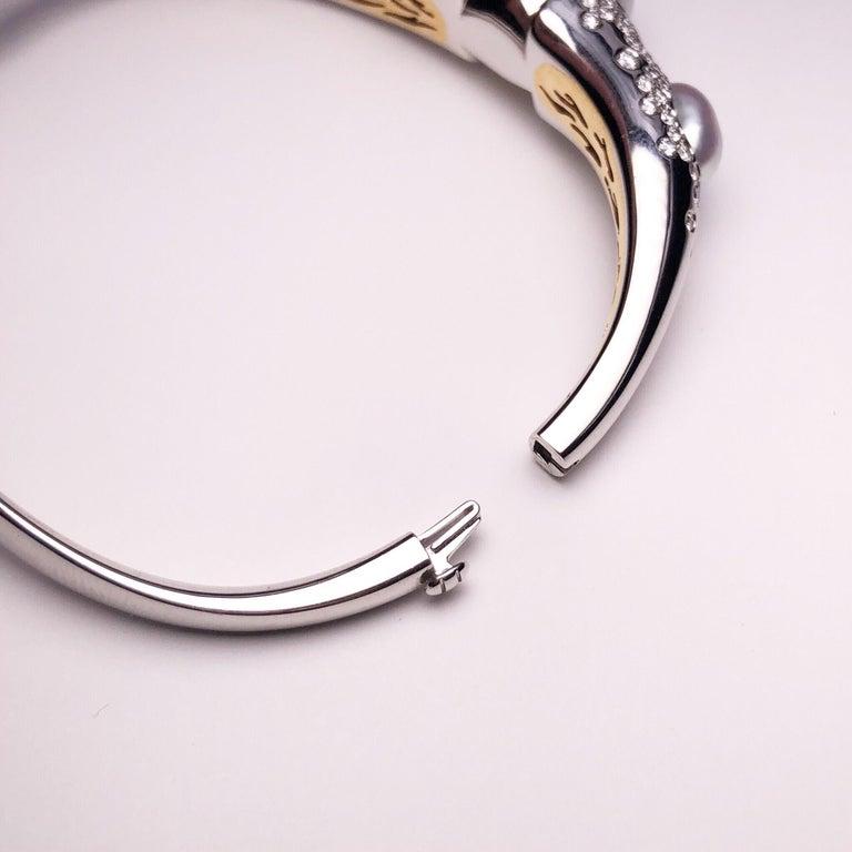 Round Cut Autore Baroque Pearl and 2.02 Carat Diamond Bangle Bracelet For Sale