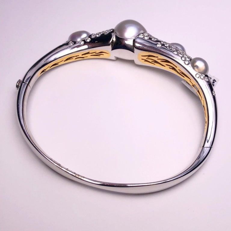Women's or Men's Autore Baroque Pearl and 2.02 Carat Diamond Bangle Bracelet For Sale