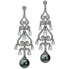 Autore Black Tahitian Pearl Chandelier Earrings with Diamonds and White Topaz