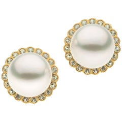 Autore Brown Diamonds White South Sea Pearl Earrings