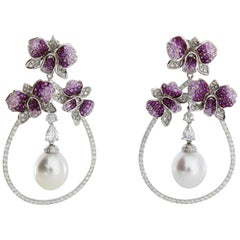 Autore Curly Pink Orchid Earrings