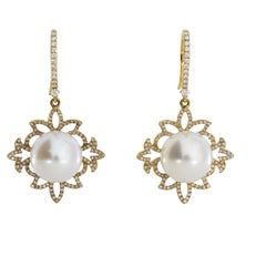 Autore Gold Diamond and South Sea Pearl Drop Earrings
