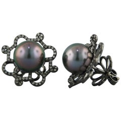 Autore Gold Diamond and Tahitian Pearl Stud Earrings