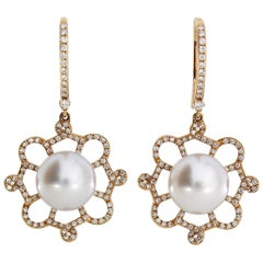 Autore Gold White Diamond South Sea Pearl Drop Earrings