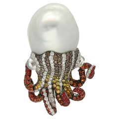 Autore Octopus Baroque Pearl Diamonds Sapphire Moonstone Gold Silver Brooch