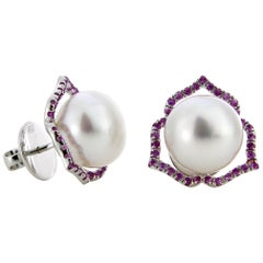 Autore Pink Sapphire White South Sea Pearl Stud Earrings
