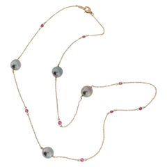 Autore Rose Gold Ruby Tahitian Pearl Chain Necklace