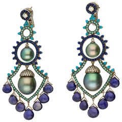 Autore South Sea Cultured Pearls Diamonds Sapphires Iolites Gold Earrings