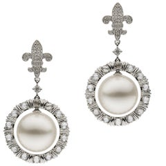 Autore South Sea Pearl Fleur-de-Lis Earrings