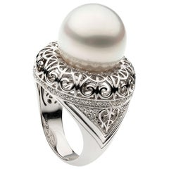 Autore South Sea Pearl Iron Lattice Ring