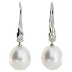 Autore White Gold White Diamond South Sea Pearl Drop Earrings