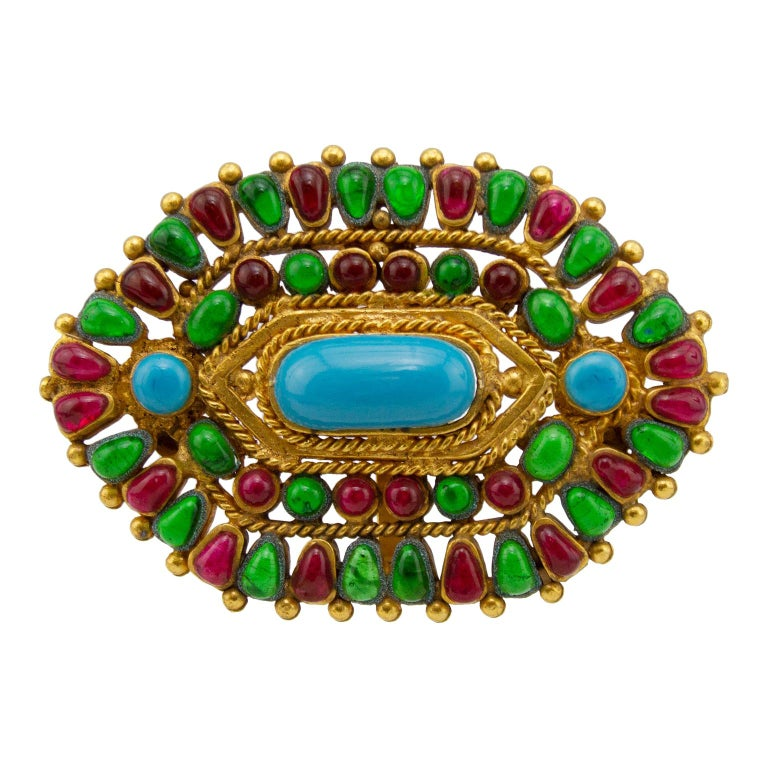 Autumn 1993 Chanel Green, Red and Turquois Hexagon Pin/Pendant For Sale