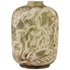 Autumn Art Deco Ceramic Vase with Nudes Gaston Ventrillon for Mougin, 1930
