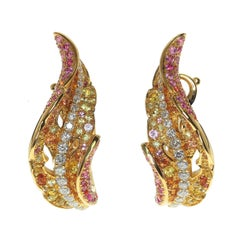 Autumn Color Diamond Pink Yellow Sapphire Leaf Earring