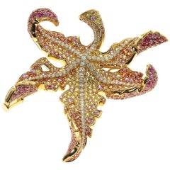 Autumn Color Diamond Pink Yellow Sapphire Maple Leaf Brooch
