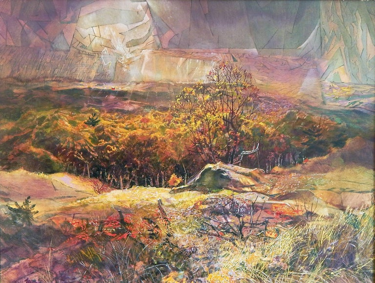 An early painting by renowned Grand Rapids artist Armand Merizon, inspired by a dramatic, autumnal view of the Betsie Valley near Frankfort, Michigan not far from Traverse City this work shows the artist's characteristic melding of realistic and