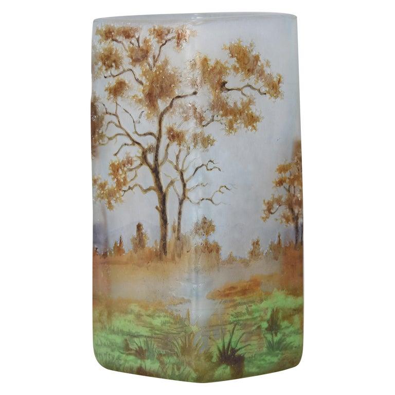 """""""Autumn Landscape"""" by Daum Frères For Sale"""