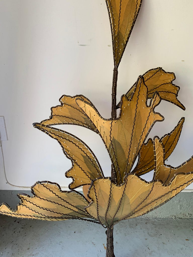 Metal Autumn Leaves & Branches Wall Sconces, a Pair For Sale