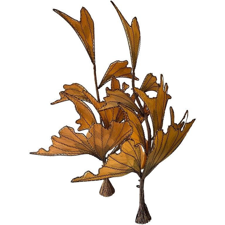 Autumn Leaves & Branches Wall Sconces, a Pair For Sale