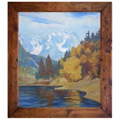 Autumn Mountain Landscape Painting, Oil on Canvas, 1920s