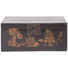 """Autumn Offerings"" 19th Century Chinese Painted Trunk"