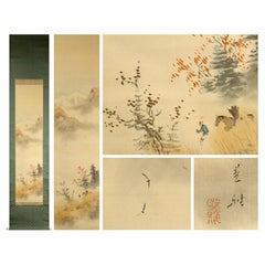 Autumn Scene Meiji Period Scroll Japan 19c Artist Marked Nihonga Style