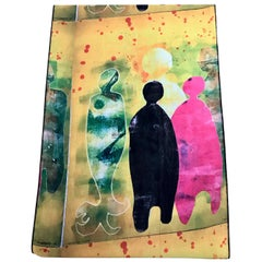 Autumn Time chiffon scarf by Melanie Yazzie contemporary yellow pink black blue