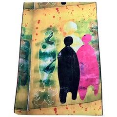 Autumn Time chiffon scarf by Melanie Yazzie contemporary yellow pink black blue