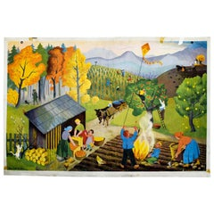 Autumn, Vintage Wall Chart