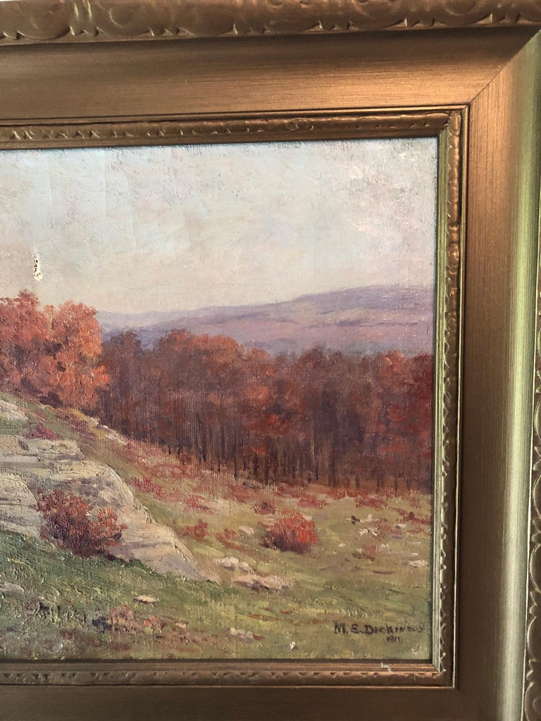 American Autumnal Hillside Landscape by Mabel E. Dickinson Pond, 1911 For Sale