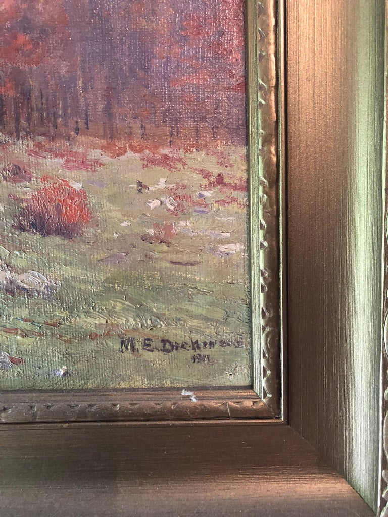 Autumnal Hillside Landscape by Mabel E. Dickinson Pond, 1911 In Good Condition For Sale In Stockton, NJ