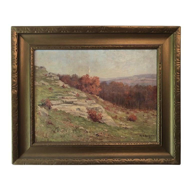 Autumnal Hillside Landscape by Mabel E. Dickinson Pond, 1911 For Sale