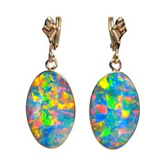 AUustralian Opal Earrings 14k Yellow Gold
