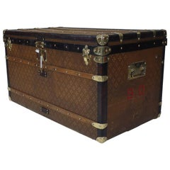 """Aux etats unis"" Branded Steamer Trunk"