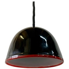 AV Mazzega Black Murano Glass Domed Pendant