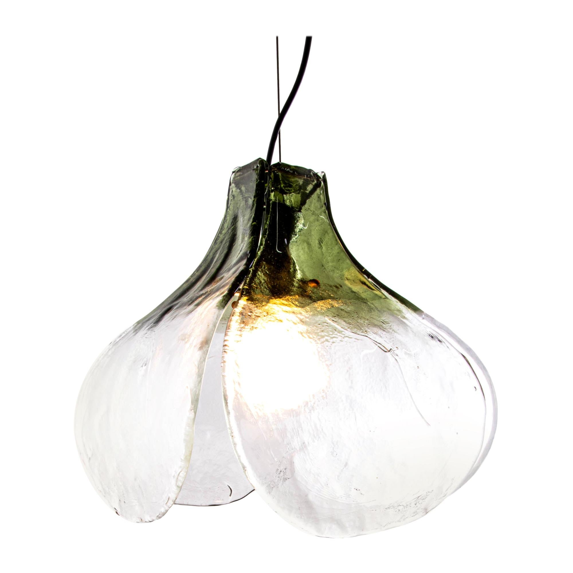 1960 Italy Mazzega Tulip Pendant Lamp Green & Clear Murano Glass Carlo Nason