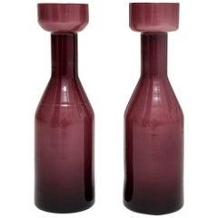 AV Mazzega Vases, Case Glass, Purple Amethyst