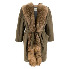 Ava Adore Khaki Belted Raccoon Fur Trim CoatSIZE 42